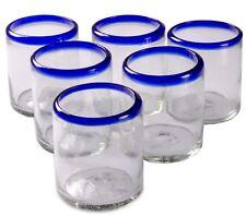 Orion Mexican Glassware Blue Rim 12 oz All Purpose - Set of 6