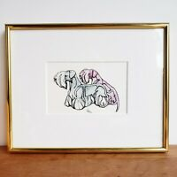 Cesky terriers modern watercolor pen and ink painting framed and matted signed