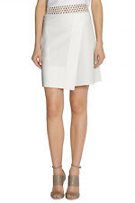 JOSEPH White Liz Wrap-Effect Perforated Leather Skirt F 38 UK 10 US 6 S SMALL