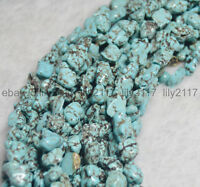 "Natural Turquoise 6-10MM 100% Real Gemstone Nugget Loose Beads Strand 15"" AA"