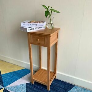 Tall Side Table Small Hall Furniture Lamp Telephone Stand Solid Wood Console Set