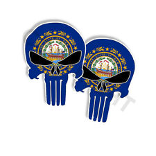 """Punisher Stickers New Hampshire State Flag Skull Decals - 5"""" tall 2-pack"""