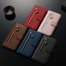 For Samsung Note 10 A20E A80 M30 S10 Zipper Leather Wallet Card Flip Case Cover