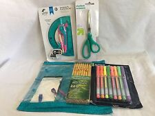 School Supplies 5 Piece Lot Pens Pencils Scissors Compass and Protractor Eraser