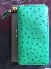 Limited Edition GUCCI Exclusive Green Ostrich Bamboo Zip Around Wallet/ Clutch