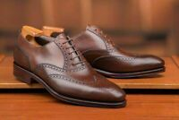 Handmade Brown Brogue Plain leather Men's Wingtip Shoes Handcrafted Men Shoes