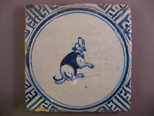 Antique Dutch Delft Tile Animal Dog Rare Tiles 17th century - free shipping