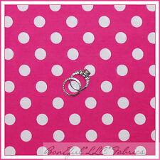 BonEful Fabric FQ Cotton Quilt VTG Pink White Disney Polka Dot Calico Girl Dress