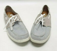 TOMS ONE FOR ONE MENS GRAY & TAN BOAT SHOES - SIZE 13US/12.5UK/46EU - EUC