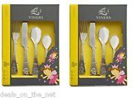 2 x Viners Fairies Stainless Steel 4 Piece Children Child Kids Cutlery Boxed Set