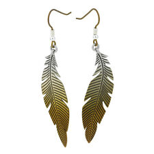 Brown Feather Titanium Drop Earrings