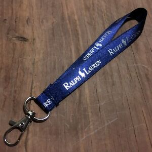 Ralph Lauren Polo Key Shirt Pony Lanyard Keychain Ribbon Blue