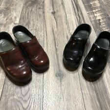 Dansko Black Leather Clogs And Red Clogs Size 37 Lot Of 2 Shoes