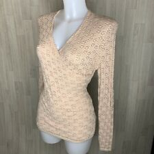 ADOLFO DOMINGUEZ • Pink Faux Wrap Style Knitted Long Sleeve Top • Size Small