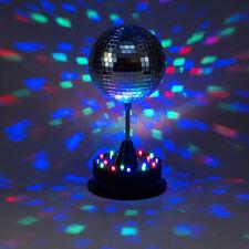 LED Spiegelkugel Discokugel 13cm mit Standfuß bunte LED Batterie u. USB Betrieb