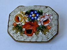 Vintage Micro Mosaic Flower Brooch