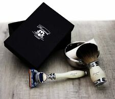Ivory Color 4 Pieces Men's Shaving Set. Perfect As a Gift This Christmas For HIM