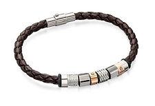 Fred Bennett Stainless Steel Brown Leather Multi Bead Bracelet 20cm