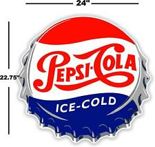 "(PC-221) 24"" PEPSI CAP  ICE COLD SODA POP VENDING MACHINE COOLER OR GUMBALL"