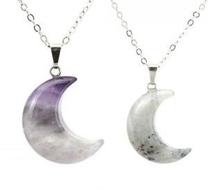 Natural Stone Crescent Moon Stone Pendant Healing Crystal Quartz Reiki Necklace