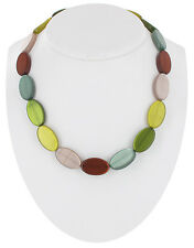 Multicolor Moonglow Lucite Oval Beaded Necklace