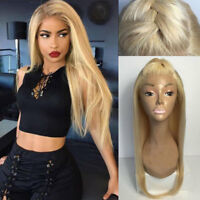100% Virgin Peruvian Human Hair Wigs Blonde Straight Wavy Lace Front Full Wig ha