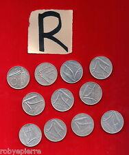 lotto 10 lire 11 monete 1951 1952 1955 1973 1974 1975 1977 1979 1980 81 1982