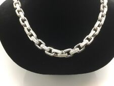 """STERLING SILVER MICRO PAVED CUBIC ZIRCONIA OPEN SQUARE LINK  CHAIN (26"""")"""