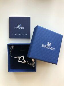 Swarovski Crystal Silvertone Open Heart Bracelet In Box