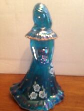 FENTON BLUE CARNIVAL GLASS YOUNG LADY FIGURINE, SIGNED BY SHELLEY FENTON
