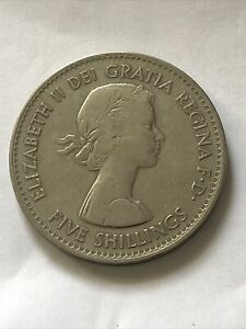 1960, Elizabeth Crown Coin, New York, Five Shilling, 5/- Coin.