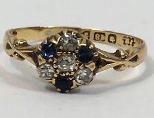 18ct Gold Sapphire & Diamond Ring (1 Sapphire Damaged) Size N 1/2 - 2.1grams