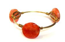 NEW Bohemian Inspired Orange Stone Acrylic Bead Wire Wrap Bracelet Bangle