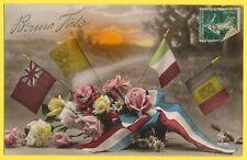 cpa Patriotique 1915 WW1 Bouquet Fleurs DRAPEAUX Ruban Tricolore BONNE FÊTE