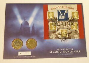 2005 UK £2 BRILLIANT UNC COIN PHILATELIC COIN COVER 60TH ANNIVERSARY END OF WW2