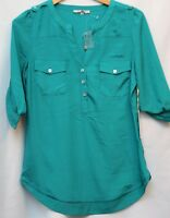 """NWT! 41Hawthorn """"Filbert 3/4 Sleeve Popover Blouse"""" for Stitch Fix; Turquoise"""