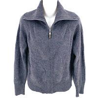ST JOHN Charcoal Gray 100% Cashmere Zip Cardigan Sweater Size XS