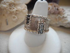 Judith Ripka Sterling Silver Rope Textured Sapphire Diamonique Band Ring   503A