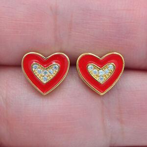 18K Yellow Gold Filled Clear Topaz Red Enamel Love Hearts Stud Earrings