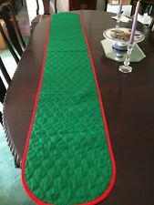 Quilted Green and Red Christmas Colors Table Runner 85 inches, reversible