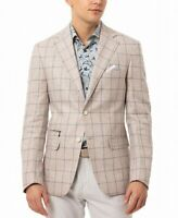 Tallia Mens Sport Coat Beige Size 42 Long Windowpane Print Two-Button $350 #009