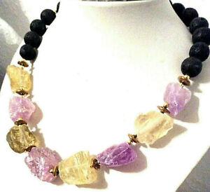 Edelstein-Halskette aus CITRIN + AMETHYST Roh-Steine in Form von Nuggets