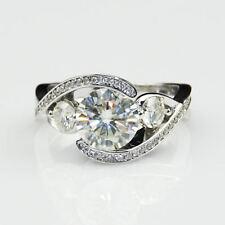 2.05Ct Three Stone Round Cut Unique Engagement Wedding Ring 9Ct White Gold