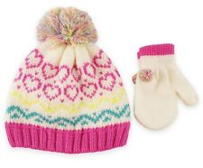 Rising Star Pom Pom Winter Hat and Mittens Set for Girls 2T / 3T, BNWT