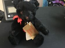 """Hermann 8"""" Teddy Bear Black Mohair Red Bow Brown Stitched Nose Jointed Tags"""