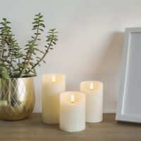 Authentic Flame Battery Power Ivory Flickering LED Pillar Candle Lights