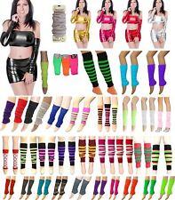Ladies Women Leg Warmers Plain Stripe Ruched Top Arm Warmer Lurex Fancy Dress