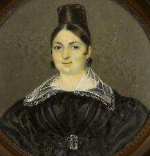 Biedermeier Damenportrait Miniaturmalerei auf Bein Miniature Lupenmalerei