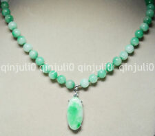 Natural 8mm Multicolor Green Jade Round Beads & Oval Pendant Necklaces JN0639