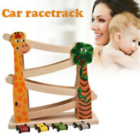 4 Layers Ramp Racer Click Clack Car Race Track Wooden Toy For Kids Child Gift